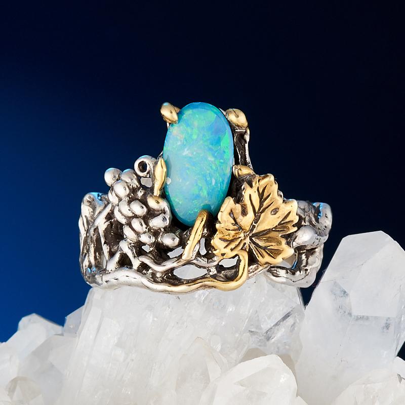 Кольцо опал благородный голубой (дублет)  (серебро 925 пр., позолота) размер 18