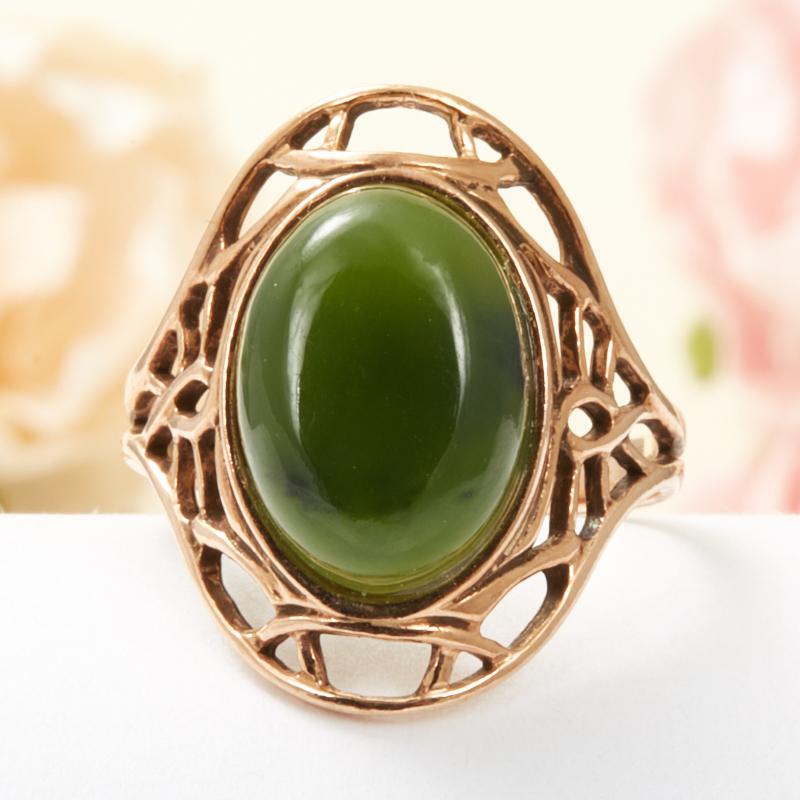 Кольцо нефрит зеленый  (серебро 925 пр., позолота) размер 17,5 кольцо авантюрин зеленый серебро 925 пр размер 23