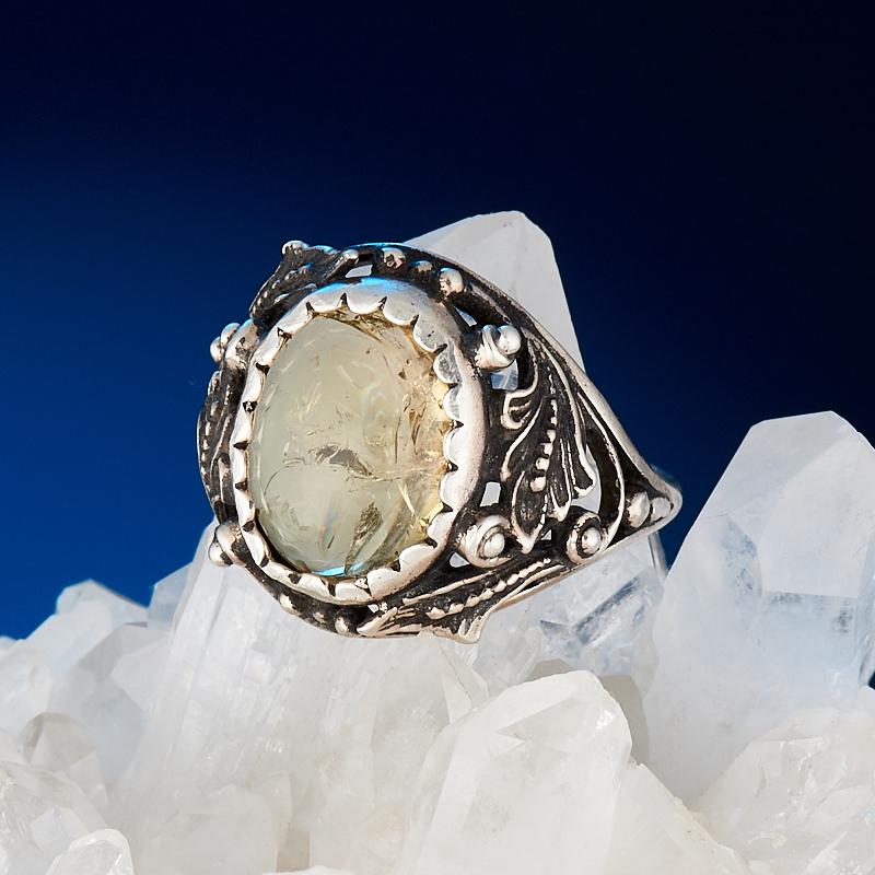 Кольцо турмалин желтый (дравит)  (серебро 925 пр.) размер 17,5