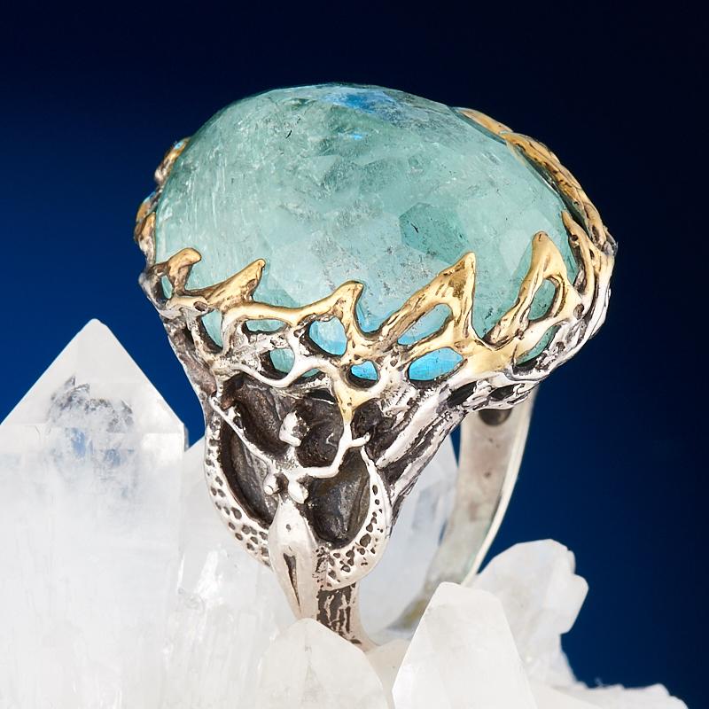 Кольцо аквамарин огранка (серебро 925 пр., позолота) размер 18,5 кольцо аквамарин серебро 925 пр позолота размер 18