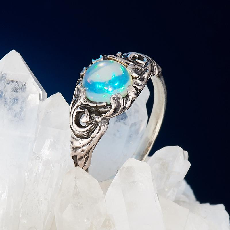 Кольцо опал благородный белый  (серебро 925 пр.) размер 17,5