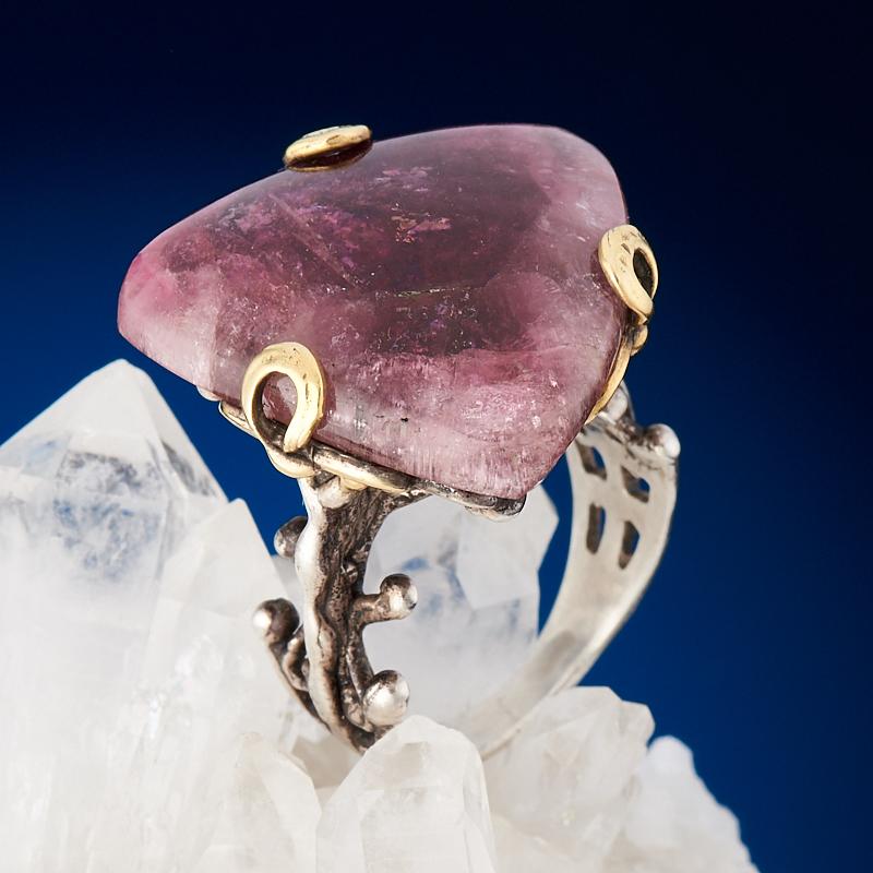 Кольцо турмалин розовый (рубеллит)  (серебро 925 пр., позолота) размер 17,5