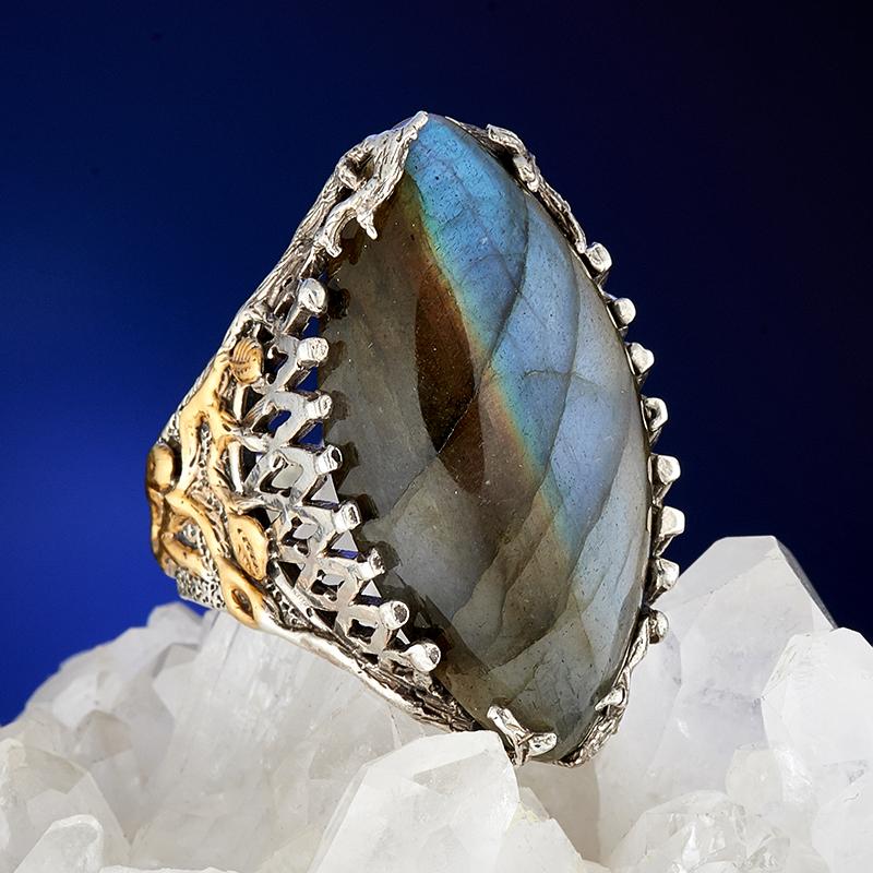 Кольцо лабрадор  (серебро 925 пр., позолота) размер 19,5