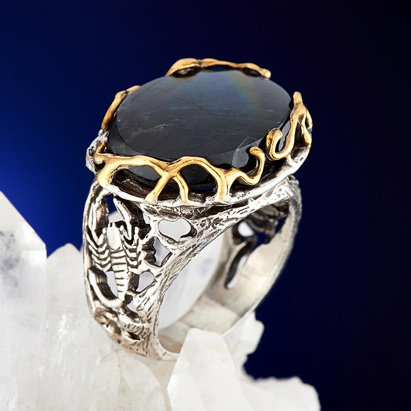 Кольцо лабрадор  (серебро 925 пр., позолота) размер 18
