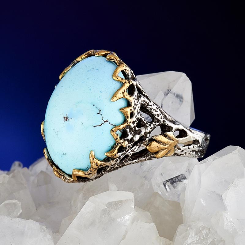 Кольцо бирюза  (серебро 925 пр., позолота) размер 19 кольцо авантюрин зеленый серебро 925 пр размер 18