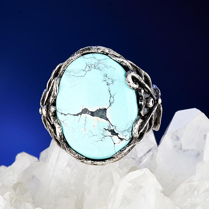 Кольцо бирюза Узбекистан (серебро 925 пр.) размер 17