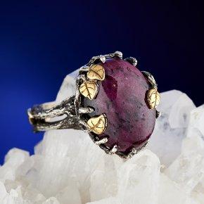 Кольцо корунд рубиновый Нигерия (серебро 925 пр., позолота) размер 18,5