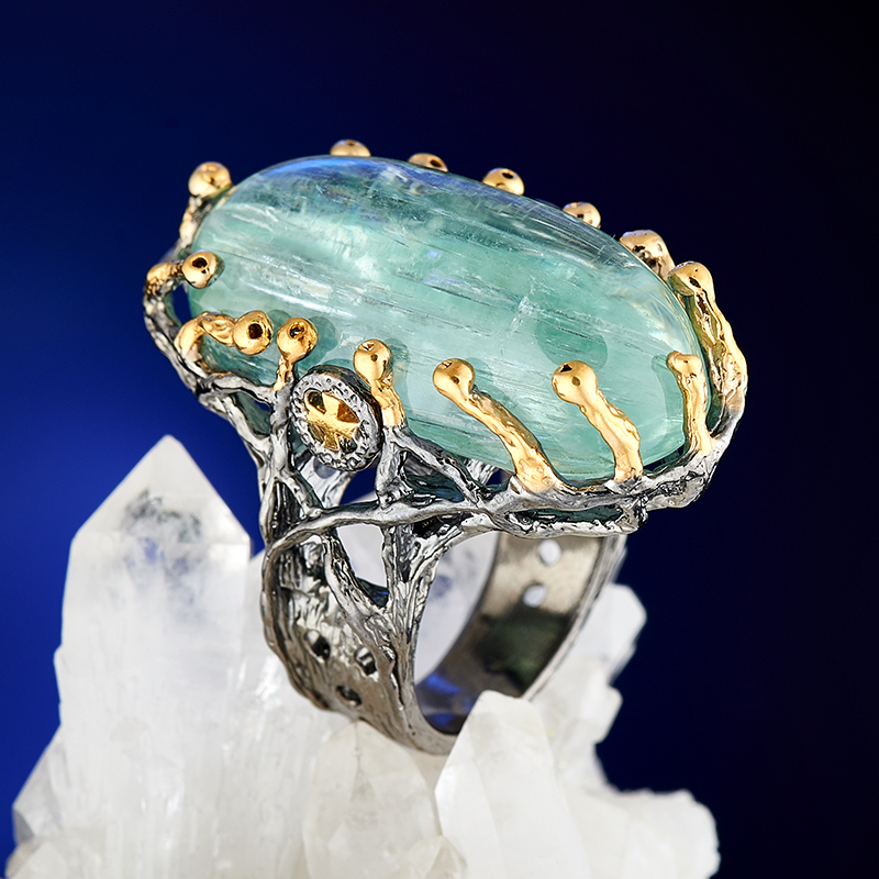 Фото - Кольцо аквамарин (серебро 925 пр., позолота) размер 18 кольцо аквамарин серебро 925 пр позолота размер 18