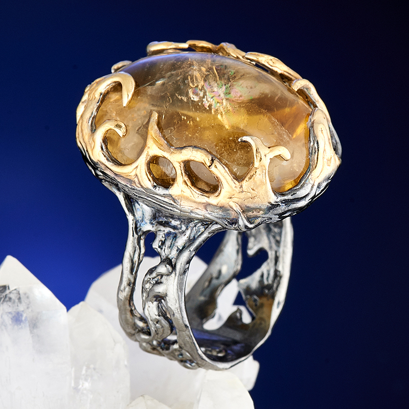 Кольцо цитрин (серебро 925 пр., позолота) размер 18,5 цена