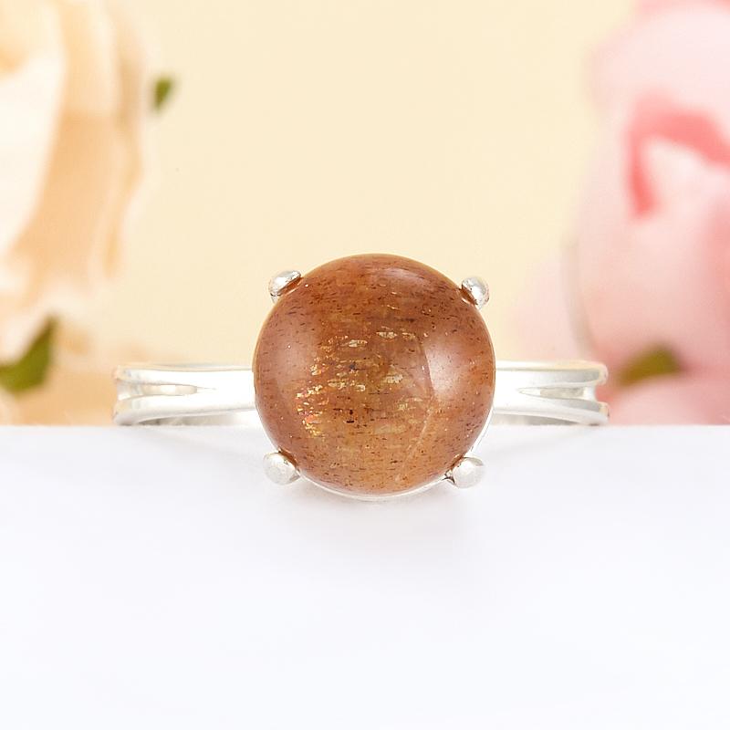 Кольцо солнечный камень  (серебро 925 пр.) размер 19