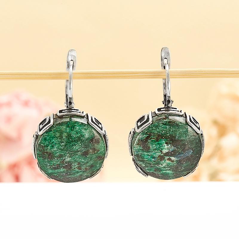 Серьги авантюрин зеленый  (серебро 925 пр.) кольцо авантюрин зеленый серебро 925 пр размер 18
