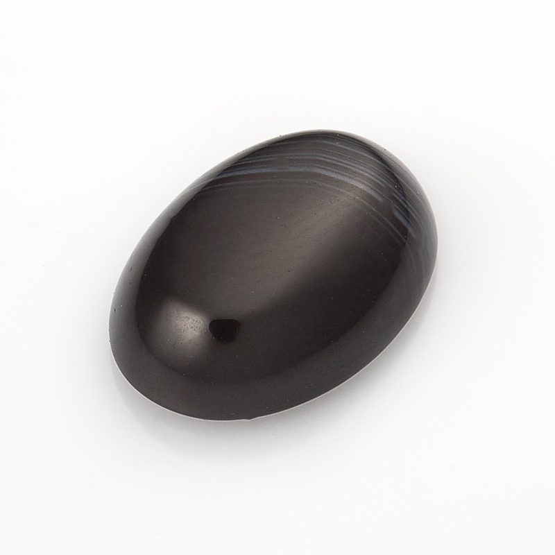 Кабошон агат черный  10*14 мм