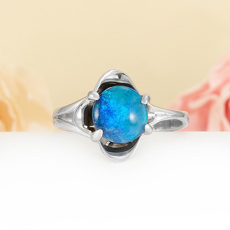 Кольцо опал благородный синий (триплет)  (серебро 925 пр.) размер 17