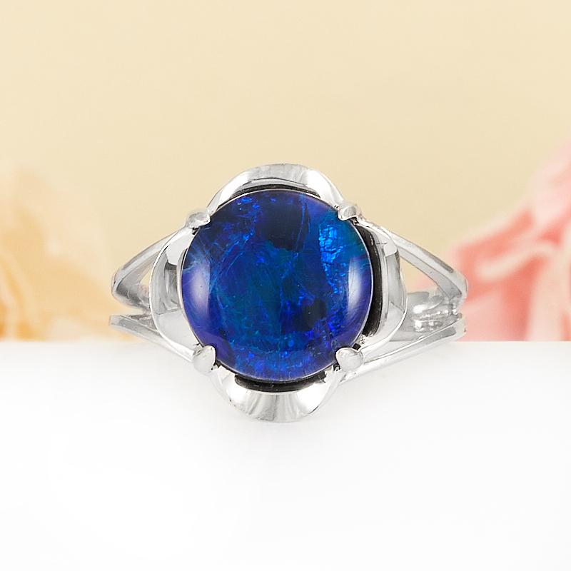 Кольцо опал благородный синий (триплет)  (серебро 925 пр.) размер 16