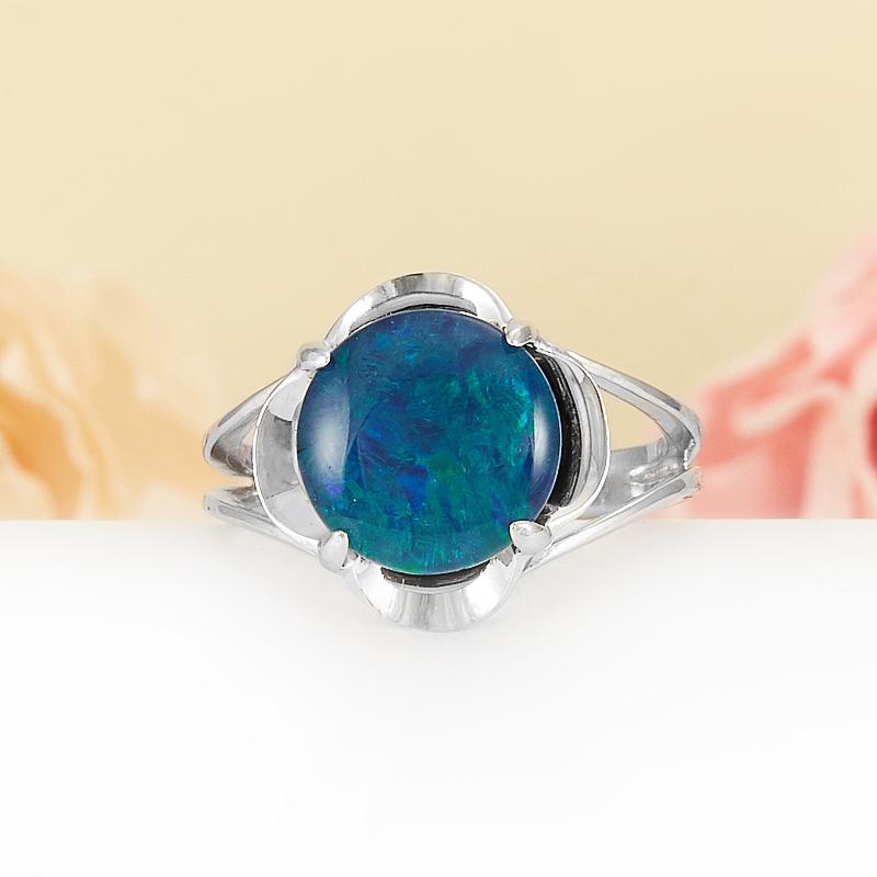 Кольцо опал благородный синий (триплет)  (серебро 925 пр.) размер 16,5