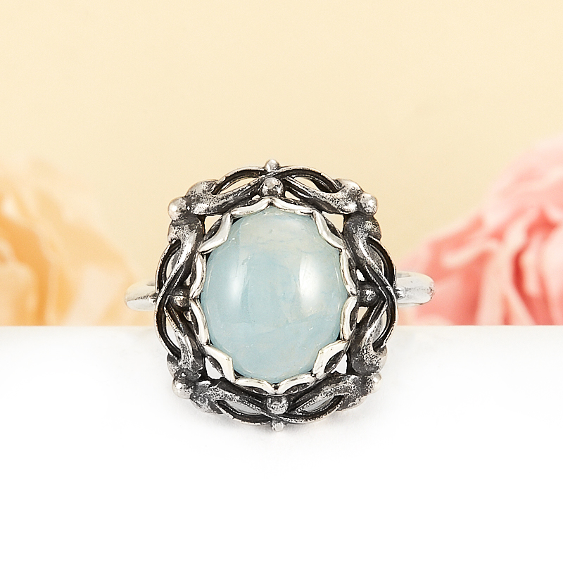 Кольцо аквамарин  (серебро 925 пр.) размер 18,5 кольцо авантюрин зеленый серебро 925 пр размер 18