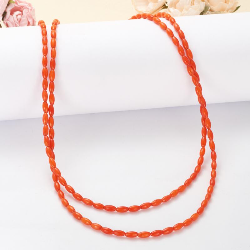 Бусы коралл оранжевый  50-61 см