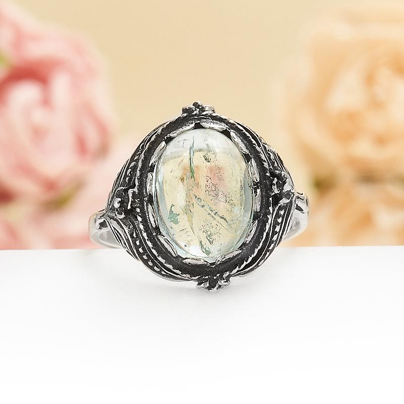 Кольцо аквамарин  (серебро 925 пр.) размер 19