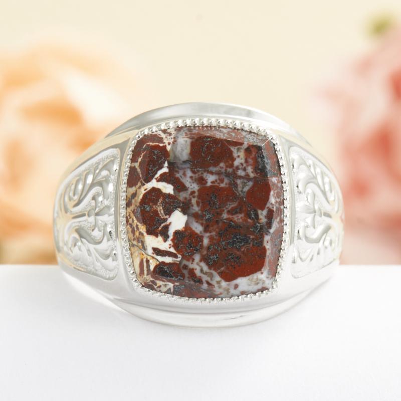 Кольцо яшма брекчиевая  огранка (серебро 925 пр.) размер 20,5