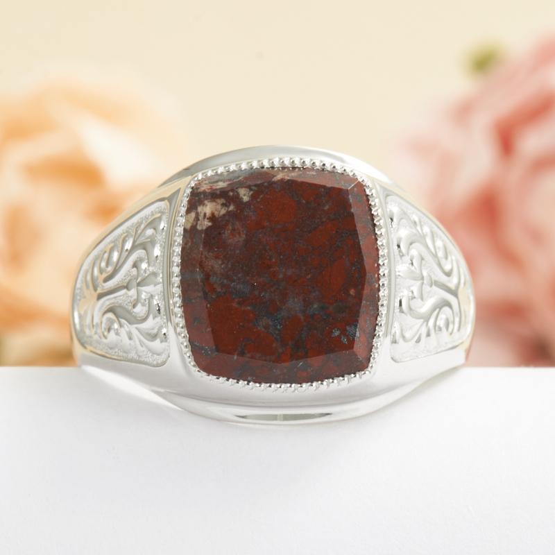 Кольцо яшма брекчиевая огранка (серебро 925 пр.) размер 23 браслет яшма брекчиевая огранка 19 cм