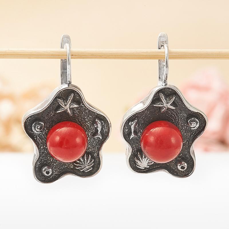 Серьги коралл красный  (серебро 925 пр.)