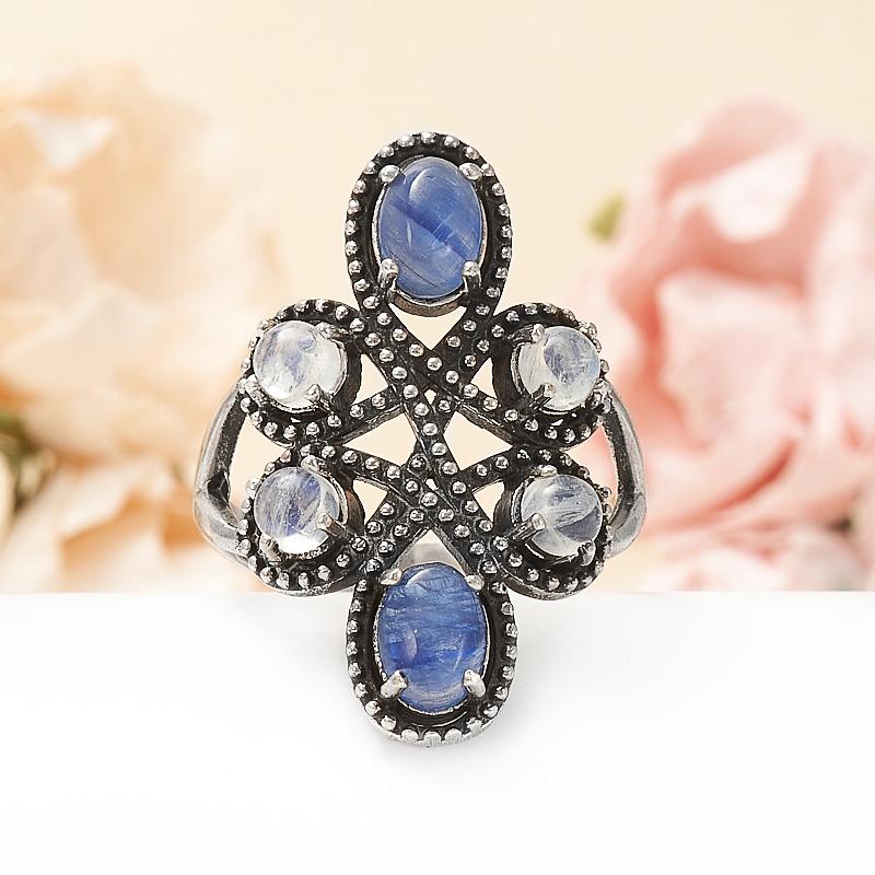 Кольцо кианит синий, лунный камень (серебро 925 пр.) размер 19,5