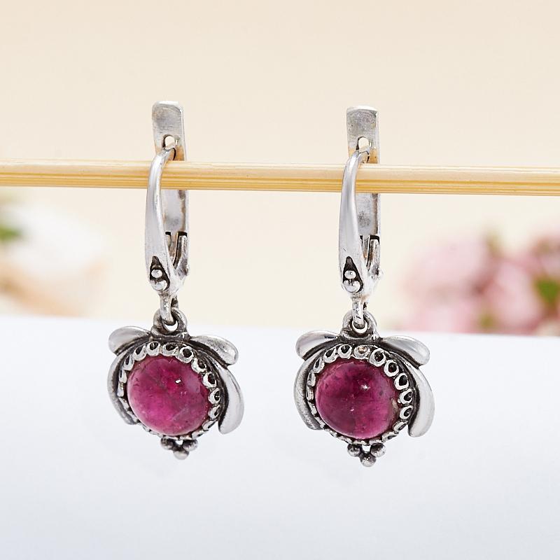 Серьги турмалин розовый (рубеллит)  (серебро 925 пр.) кабошон турмалин розовый рубеллит 9 мм
