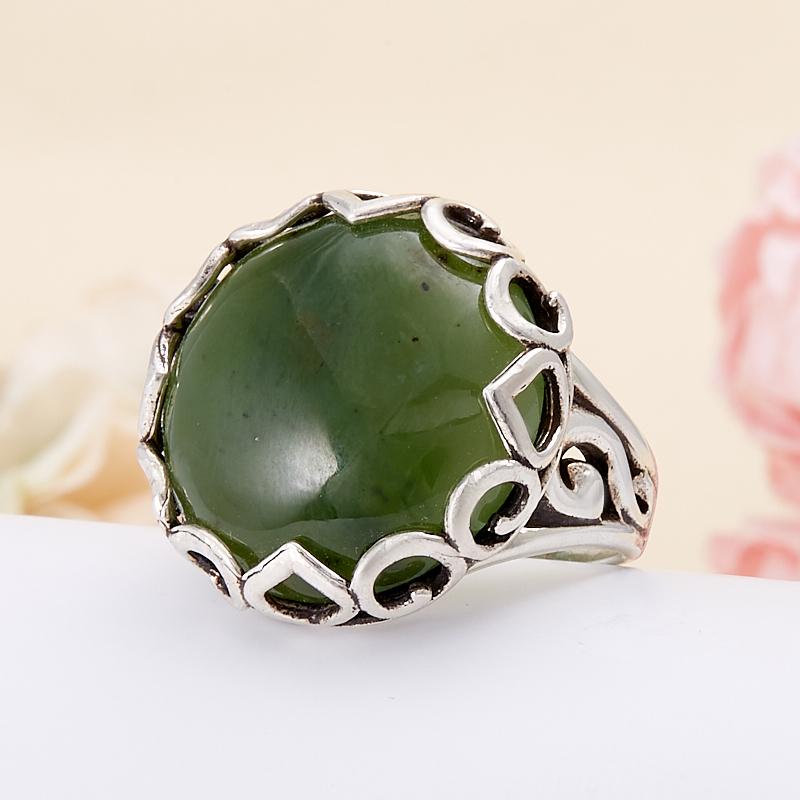 Кольцо нефрит зеленый  (серебро 925 пр.) размер 17 кольцо авантюрин зеленый серебро 925 пр размер 17 5