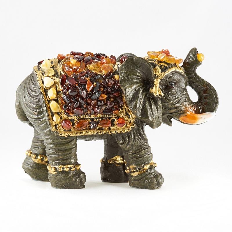 Слон янтарь  12х9х5 см