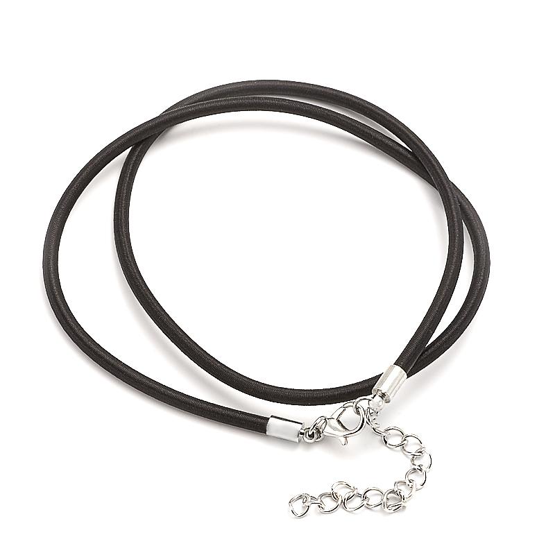 Шнурок черный 46-50 см (каучук, текстиль)