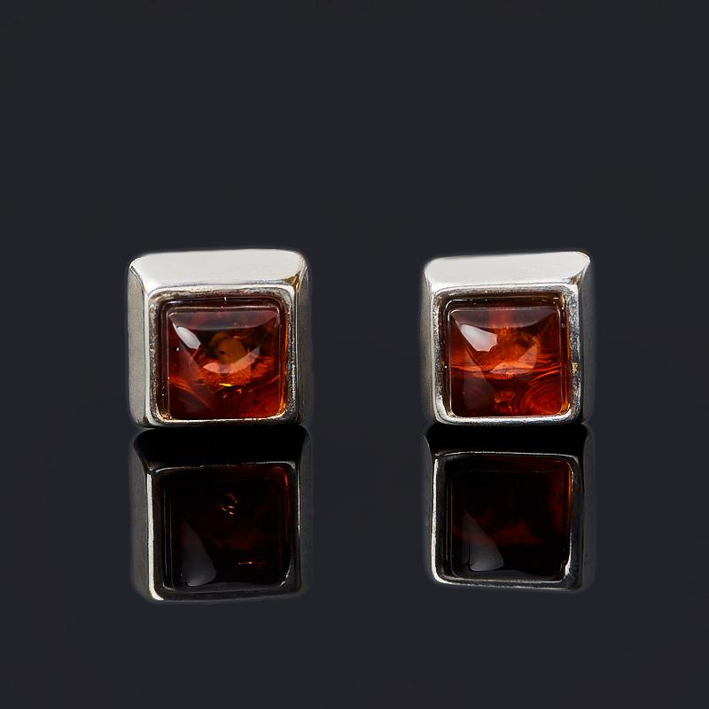 Серьги янтарь (латунь посеребр.)