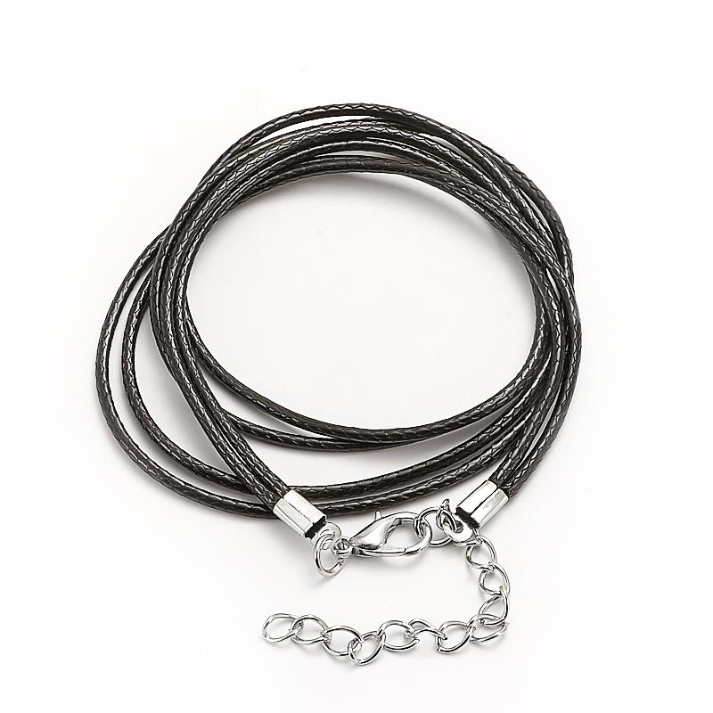 Шнурок плетеный черный 48-52 см (нейлон)