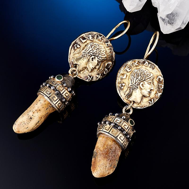 Серьги янтарь  (серебро 925 пр., позолота)