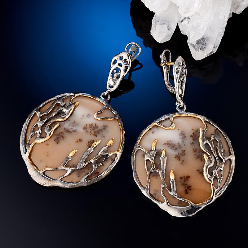 Серьги агат пейзажный  (серебро 925 пр., позолота)