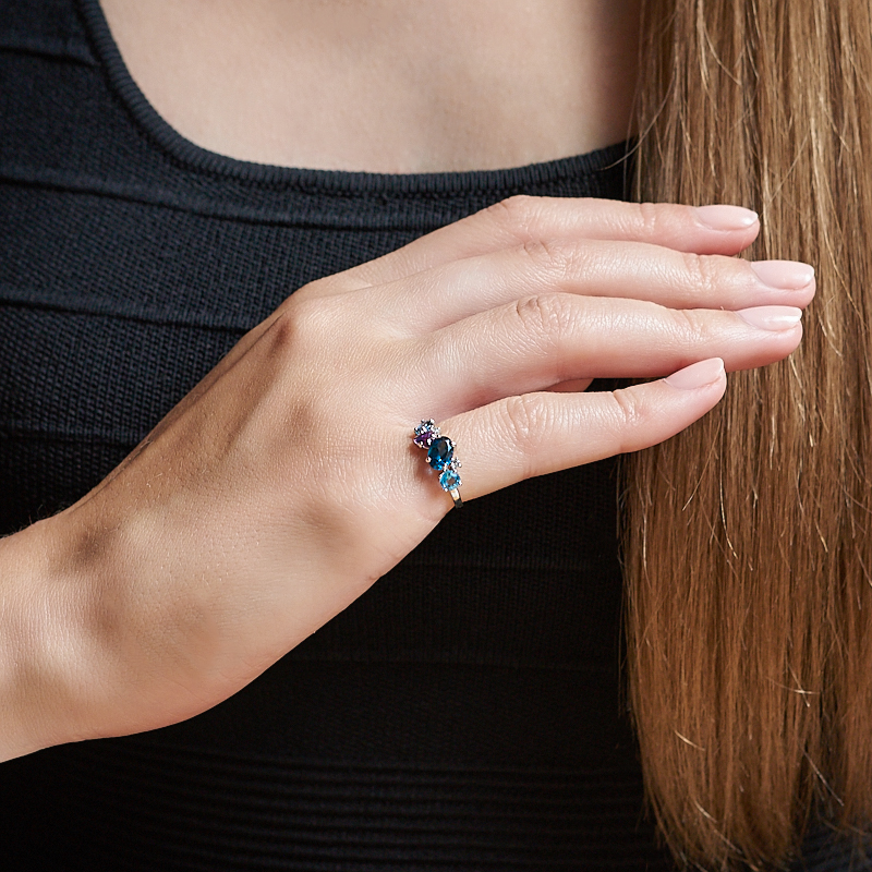 Кольцо микс аметист, топаз огранка (серебро 925 пр. родир. бел.) размер 19,5