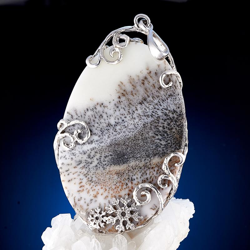 Кулон агат пейзажный  (серебро 925 пр., позолота)