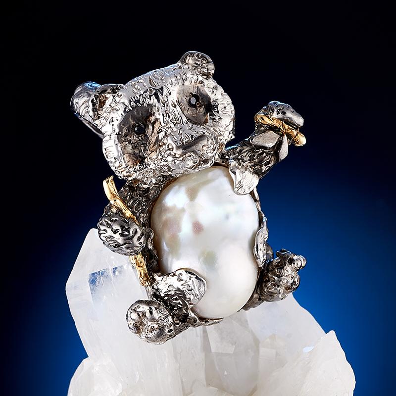 Кольцо двойное жемчуг белый (серебро 925 пр., позолота)