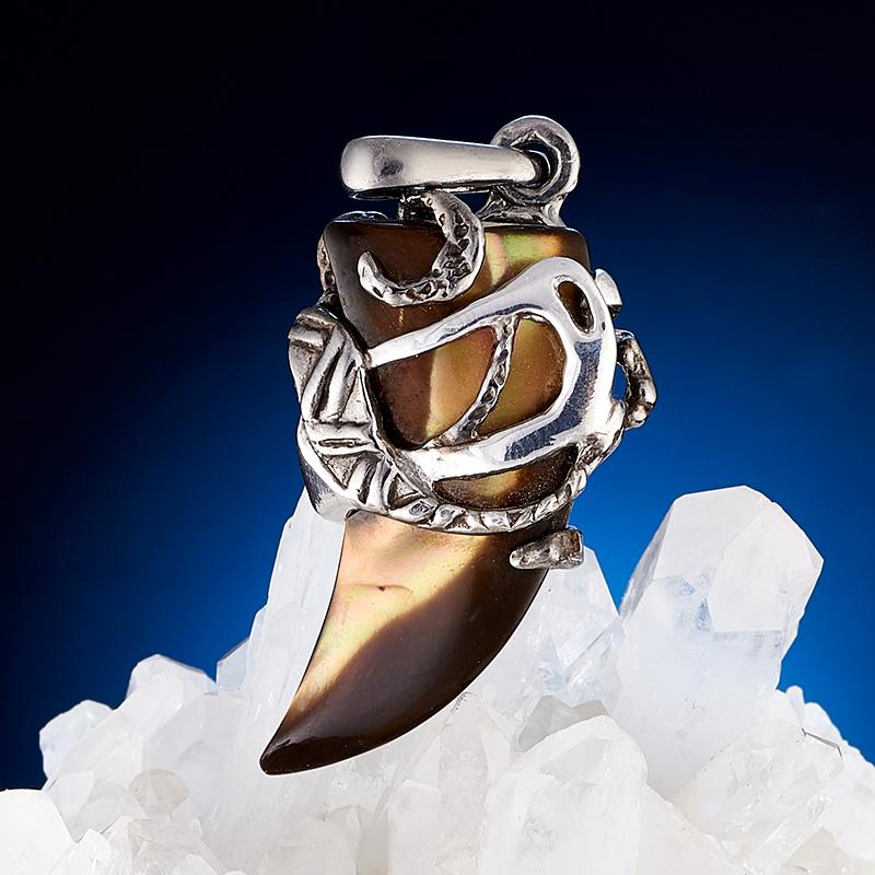 Кулон перламутр коричневый  (серебро 925 пр., позолота)