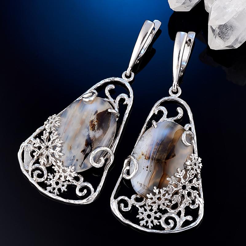 Серьги агат (серебро 925 пр., позолота)