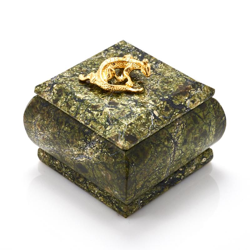 Шкатулка змеевик 6,5х6,5х4,5 см