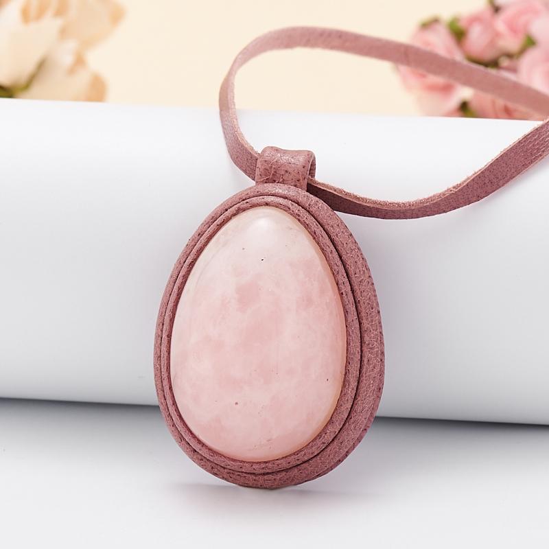 Подвеска розовый кварц  (натуральная кожа)