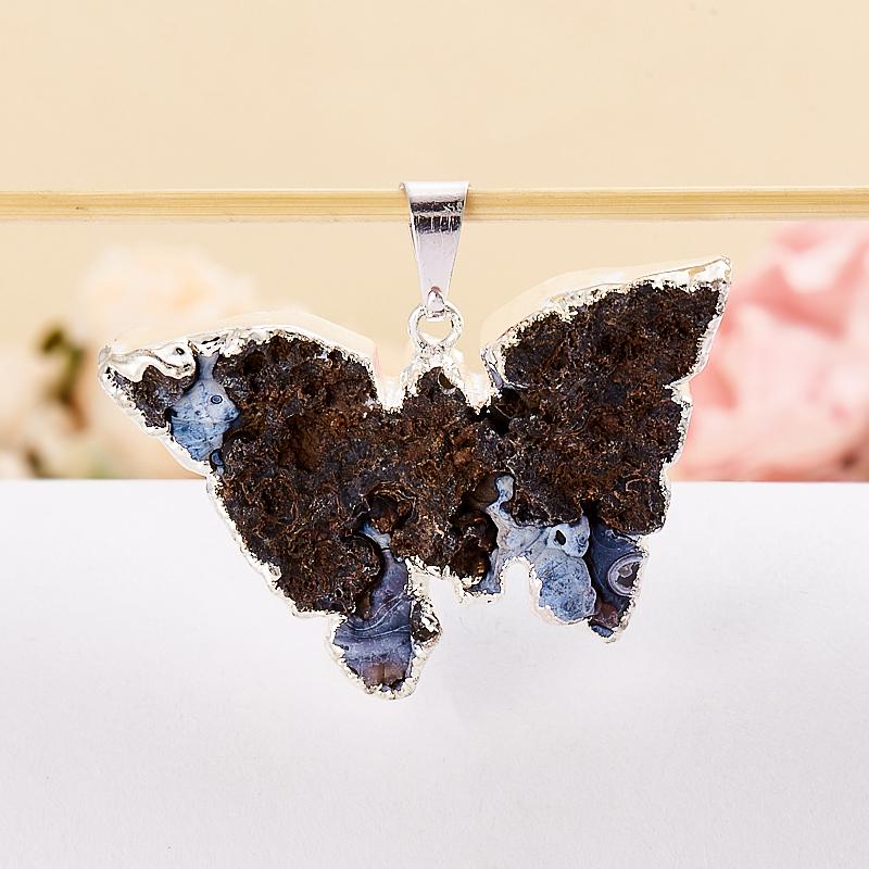 Кулон агат серый Ботсвана бабочка