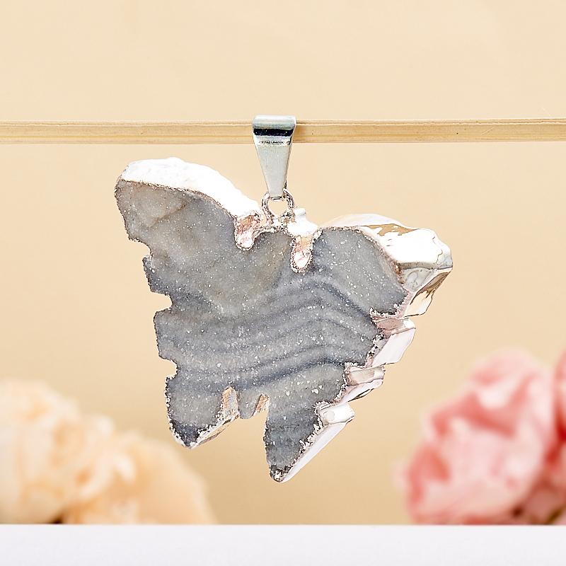 Кулон агат серый  бабочка