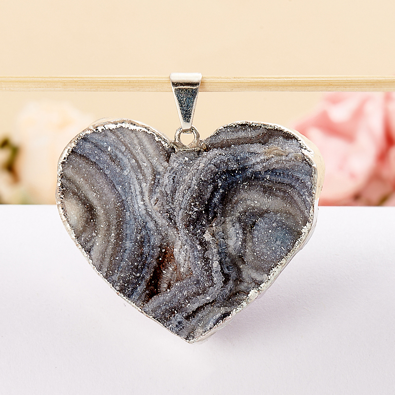 Кулон агат серый  сердечко