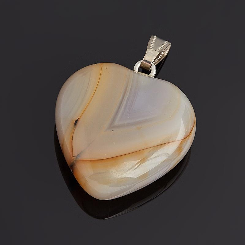 Кулон сердечко агат серый Ботсвана  (биж. сплав) 4 см