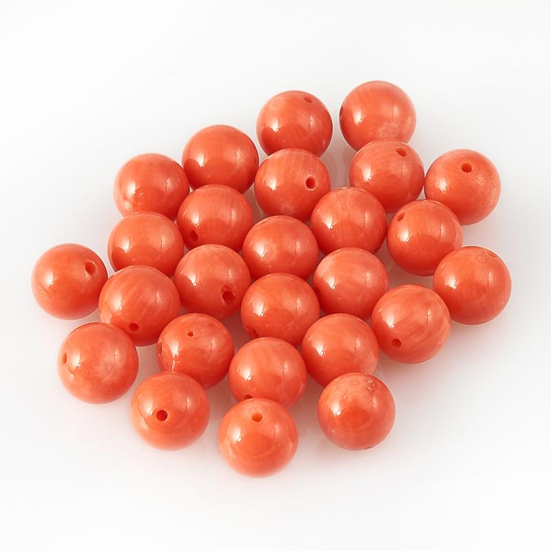 Бусина коралл оранжевый  шарик 7,5 мм (1 шт) бусина коралл оранжевый сплюснутый шар 6 мм 1 шт