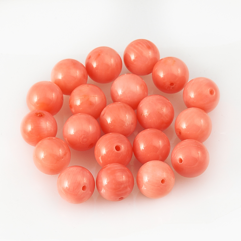 Бусина коралл розовый  шарик 7,5 мм (1 шт) бусина коралл красный сплюснутый шар 5 5 6 мм огранка 1 шт