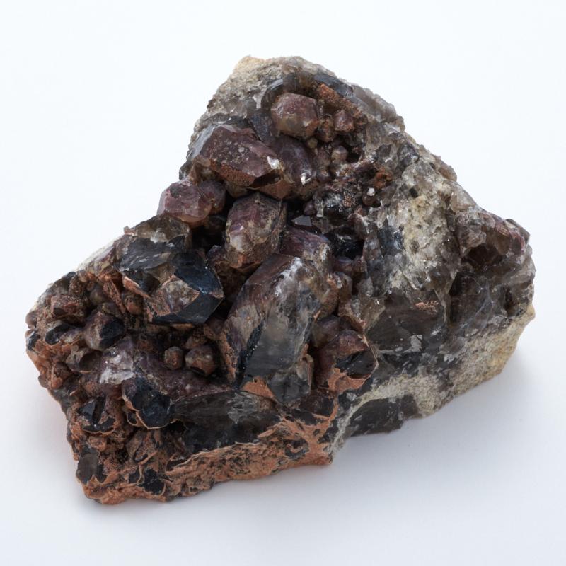 Друза раухтопаз, морион, гематит  M