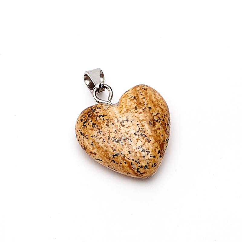 Кулон яшма рисунчатая Намибия сердечко 2-2,5 см