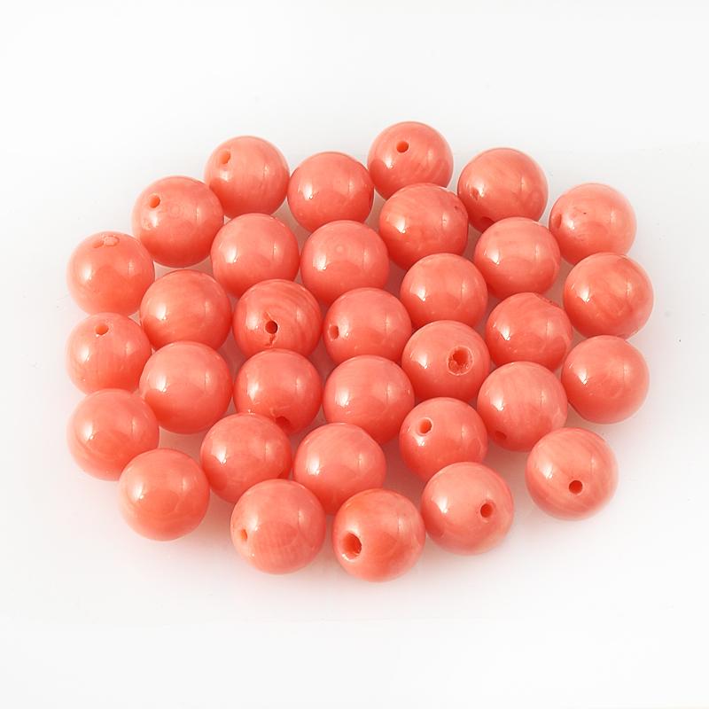 Бусина коралл розовый  шарик 7-7,5 мм (1 шт) бусина коралл красный сплюснутый шар 5 5 6 мм огранка 1 шт